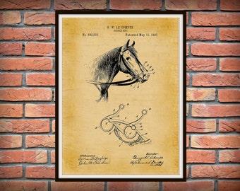1897 Horse Bridle Patent Print - Horse Bit Drawing - Western Decor - Cowboy Wall Art - Equine Decor - Horse Lover Gift Idea