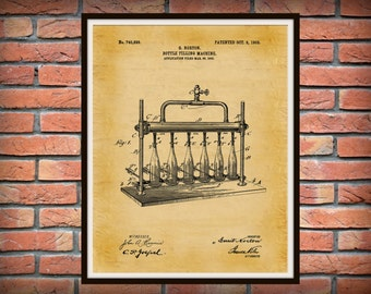 Patent 1903 Beer Bottle Filling Machine - Wine Bottle Filling - Art Print Poster - Wall Art - Beer Brewing - Sports Bar Art - Craft Beer