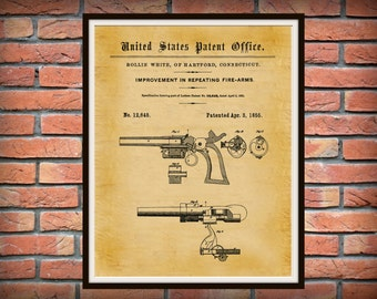 1855 Smith and Wesson Patent S&W Repeating Firearm - Poster -  Western Firearm -  Cowboy Art - Gun Shop Decor - Gun Collector Gift Idea