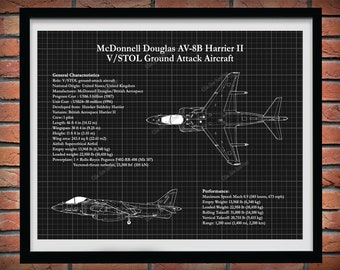 AV-8B Harrier II Blueprint, McDonnell Douglas AV-8B V/Stol Ground Attacked Aircraft Drawing, Military Aircraft Decor, Harrier Jump Jet
