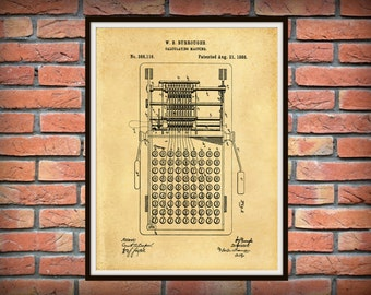 1888 Burroughs Calculator Patent Print - Burroughs Calculator Poster - Burroughs Adding Machine Patent - Cash Register - Accountant Decor