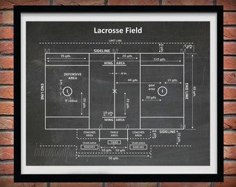 Lacrosse Field Diagram, Lacrosse Decor, Lacrosse Patent Print, Lacrosse Wall Art Gift, Lacrosse Player Gift, Lacrosse Blueprint,
