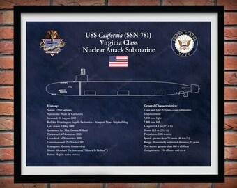 USS California SSN 781 Drawing, Virginia Class Submarine Blueprint, USS California Submarine Poster, Uss California Ssn781 Blueprint