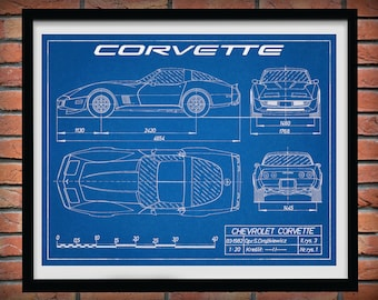 Corvette C3 Drawing, Chevy Corvette C3 Poster, Chevrolet Corvette C3 Blueprint, Sports Car, Race Car Decor, Corvette Decor, Boys Room Decor