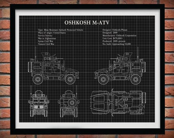 M-atv All Terrain Vehicle Poster Print, US Army All Terrain Vehicle, US Army MRAP Wall Art, Mine Resistant Ambush Protected Vehicle Drawing