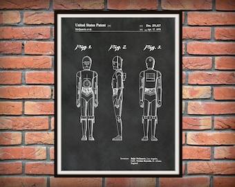 1979 Star Wars C3PO Patent Print - C3P0 Poster Print - George Lucas C3PO Droid - Star Wars C3P0 Blueprint