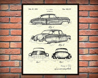 Patent 1951 Cadillac Automobile Design Patent -  Art Print - Poster - General Motors Automobile - Luxury Car Wall Art - Auto Dealer Art