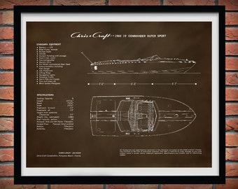 1969 Chris Craft Boat Drawing, Chris Craft Commander Super Sport Poster, Nautical Decor, Chris Craft Blueprint, Chris Craft Commander Club