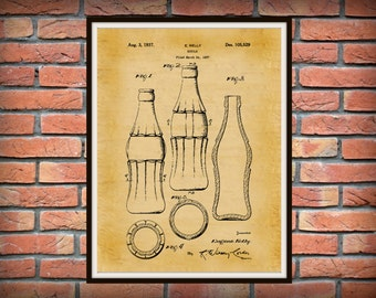 1937 Coca Cola Bottle Patent Print - 3rd Design with Hobble Skirt - Coca Cola Poster - Soda Shop Decor - Coca Cola Collector Gift Idea