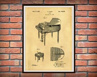 1937 Wurlitzer Piano Patent Print - Grand Piano Patent Print - Music Art Print - Piano Poster - Musical Instrument - Orchestra Decor -