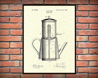 Patent 1899 Coffee Pot Patent - Drip Coffee Pot Wall Art Print - Kitchen - Poster - Restaurant Wall Art - Coffee Shop Wall Art - Housewares