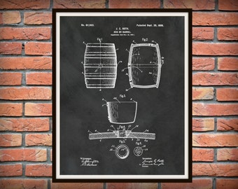Patent 1898 Beer Barrel - Wine Barrel - Beer Keg - Art Print Poster - Wall Art - Craft Beer Art - Sports Bar Art - Winery Wall Art