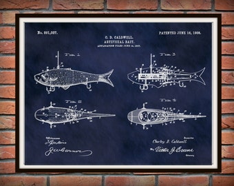 1908 Artificial Fish Bait Patent Print Vers #1 - Fishing Lures Poster - Mechanical Fish Lure Blueprint - Fishing Camp Decor  Fishing Tackle