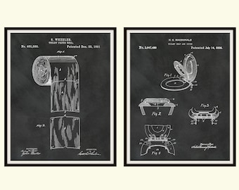 Toilet Patent Print Art Set of 2, Toilet Paper Roll Patent Print, Toilet Seat Patent Print, Bathroom Decor, Discount for 2 Prints