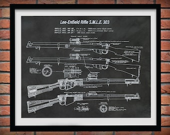 Lee-Enfield Rifle Patent Print, Lee Enfield 303 Rifle Poster, Enfield Mark III Rifle Blueprint, Enfield SMLE Mark IV Rifle Drawing