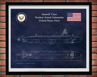 Seawolf Class Submarine Blueprint, USS Seawolf Submarine Poster, Seawolf Class Nuclear Submarine Drawing, SSN-21, US Navy Submarine