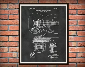 1956 Fender Guitar Patent - Fender Tremelo  Stratocaster Guitar - Rock Band Guitar Print - Electric Guitar Poster - Guitar Collector Gift