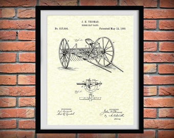 Patent 1885 Hay Rake Patent Print - Agriculture Wall Art - Tractor - Farming - Farm Equipment Patent