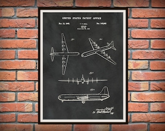 Patent 1945 Airplane XC-99 - DC-5 Airplane Art Print - Wall Art - Poster - Aeronautic - Aviation - Airport Art - Military Cargo Plane