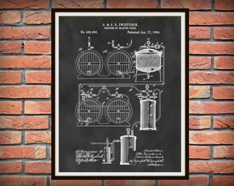 1893 Beer Brewing System Patent Print - Beer Poster - Sports Bar Decor - Craft Beer Decor - Beer Making Process - Microbrewery Decor