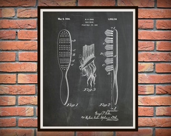 1934 Hair Brush Patent Print - Barber Shop Decor - Hair Salon Decor - Hairdresser Gift Idea - Bathroom Decor - Beauty Parlor Wall Art
