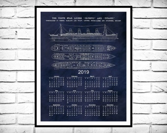 R.M.S. Titanic Calendar Print - 12-Month Calendar - Titanic Blueprint - Titanic Drawing - Titanic Collector Gift Idea - Titanic Decor