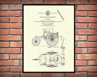 1886 Karl Benz Automobile Patent - Mercedes Benz Patent Print - First Automobile Patent Print - 1st Car Patent - German Patent Print