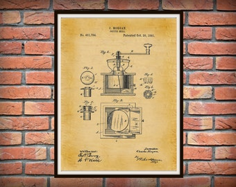 1891 Coffee Mill Patent Print, 1891 Coffee Grinder Poster, Kitchen Wall Art - Barista Gift Idea, Specialty Coffee Decor, Coffee Shop Decor