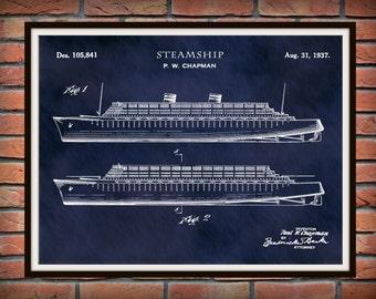 1937 Steamship Patent Print Vers #1 - Steamship Poster - Sailing Vessel - Nautical Decor - Titanic - Cruise Ship Decor