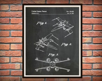 Patent 1980 Star Wars X-Wing Fighter - Art Print - Poster Print - George Lucas - Lucas film - Return of the Jedi - Star Wars Wall Art