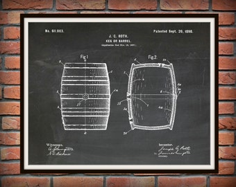 1898 Beer Keg Patent Print #2 - Wine Barrel Poster - Beer Barrel Poster - Sports Bar Decor - Microbrewery Decor - Winery Decor -