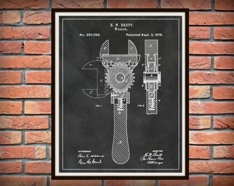 1878 Wrench Patent Print - Crescent Wrench Patent Print - Mechanics Gift Idea - Carpenter Gift - Auto Repair Shop Art - Plumber Gift Idea