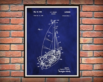 Patent 1964 Sailboat Art Print Designed by Andrew Court  - Poster Print - Nautical - Ship Wall Art - Marina Wall Art