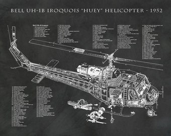 Bell UH-1B Iroquois Military Helicopter Engineering Drawing - Huey - Wall Art - Aircraft - Illustration - War Time Helicopter - Chopper