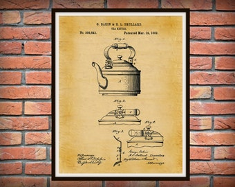 1889 Tea Kettle Patent Print - Kitchen Decor - Coffee Shop Decor - Starbucks Wall Art - Barista Gift Idea - Farmhouse Decor