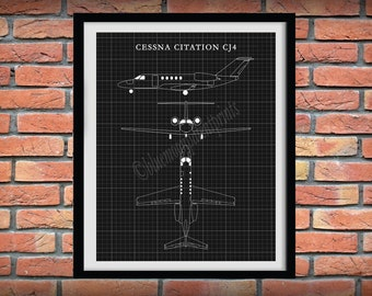 Cessna CJ4 Drawing, Cessna Citation CJ4 Jet Blueprint, Cessna Art Print, Cessna Poster, Aviation Art, Aviation Decor, Pilot Gift Idea