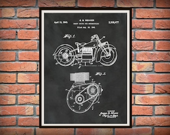 Patent 1943 Indian Motorcycle Shaft Drive Motorcycle - Poster - Wall Art - Bike - Motor Bike - Man Cave Art - Motorcycle Shop Wall Art
