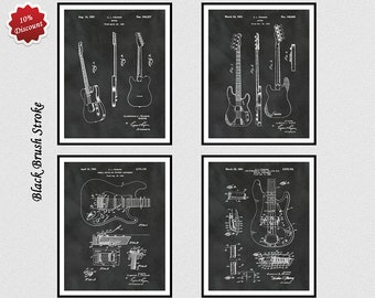 Set of 4 Fender Guitar Patent Prints - 1951 Fender Patent - 1953 Fender Patent- 1956 Fender Patent - 1961 Fender Patent - Guitar Wall Decor