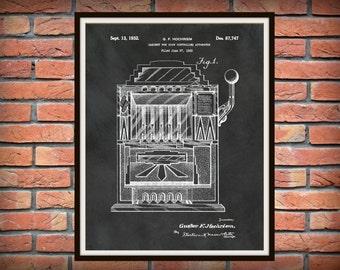 1932 Slot Machine Patent Print - Gambling Machine Blueprint - Casino Decor - Gambler Decor - Slot Machine Poster - Game Room Decor
