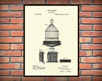 Patent 1882 Bird Cage Art Print - Poster - Drawing Illustration - Aviary Wall Art - Parrot Parakeet Cage - Bird Watcher