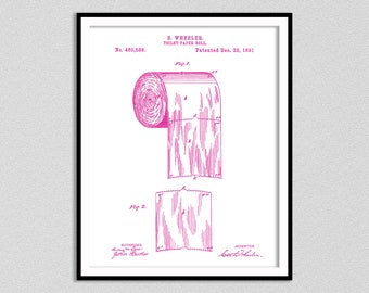 1891 Toilet Paper Roll Patent Print, Bathroom Art, Bathroom Patent Print, Toilet Paper Patent Poster Print, Bathroom Decor