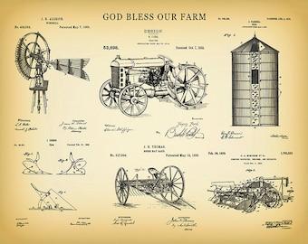 McCormick Tractor Poster Farmhouse Decor 1939 John Deere Tractor Patent Print