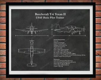 Beechcraft T-6 Texan II Print, T-6A Texan ii Blueprint, T-6C Texan Texan II Drawing, USAF Trainer Airplane, Air Force Pilot Gift