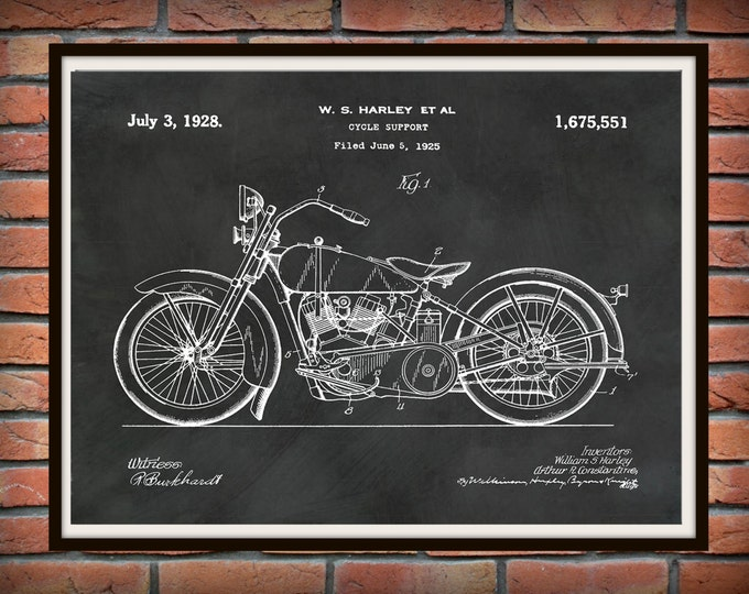 Featured listing image: 1928 Harley Motorcycle Patent Print - Vintage Harley Davidson Motorcycle Poster - Harley Davidson Decor - Harley Collector Gift Idea