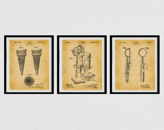 Ice Cream Patent Prints, Set of 3 Ice Cream Posters, Ice Cream Cone , Ice Cream Maker, Ice Cream Scoop, Ice Cream Shop Decor,