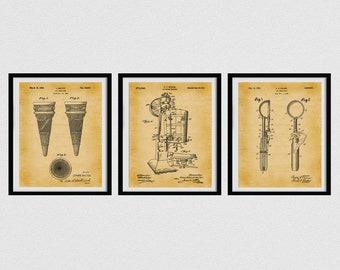 Ice Cream Patent Prints, Set of 3 Ice Cream Posters, Ice Cream Cone , Ice Cream Maker, Ice Cream Scoop, Ice Cream Shop Decor,
