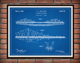 Patent 1923 Suspension Bridge - Art Print - Poster Print - Wall Art - Bridge Engineering Design -