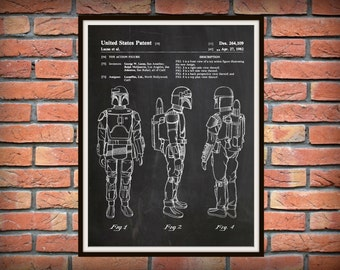 1982 Star Wars Boba Fett Patent Print - Star Wars Poster Print - Boba Fett Drawing - George Lucas Invention - Star Wars blueprint