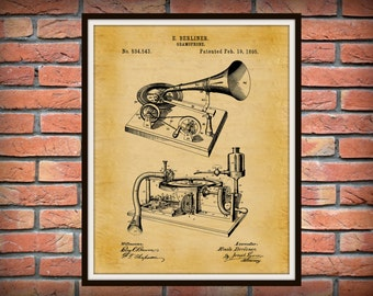 1895 Gramophone Patent Print - Antique Phonograph Patent Print - Record Player - Victrola Poster - Music Room Decor - Home Decor