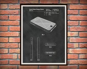 2010 iPhone Patent Art Print - Apple iPhone - Steve Jobs - Cell Phone Drawing Illustration - Home or Office Decor Electronics Apple